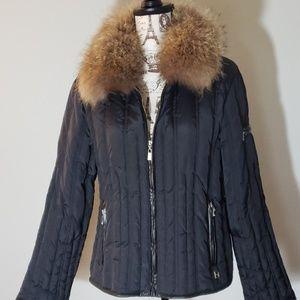 Michael Kors Down Quilted Coat w Fur Collar